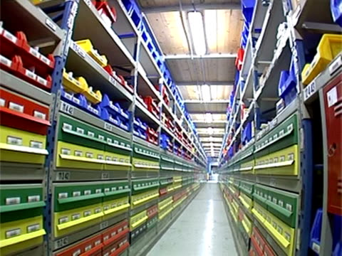 stockvideo's en b-roll-footage met shelf with different boxes in warehouse - minder dan 10 seconden