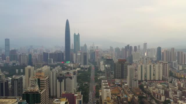 深圳市日ダウンタウン空中パノラマ 4 k 中国 - 広東省点の映像素材/bロール