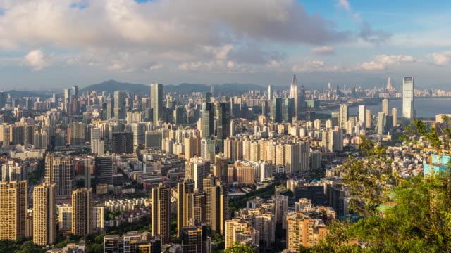 vídeos y material grabado en eventos de stock de shenzhen houhai financial district skyline time-lapse - prosperidad