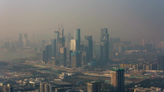 Shenzhen Qianhai Free Trade Zone, built in severe smog/4K timelapse Shenzhen Qianhai Free Trade Zone, built in severe smog/4K timelapse heat haze stock videos & royalty-free footage