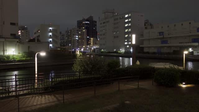 芝浦島, 日本 東京ナイトビュー - 街灯点の映像素材/bロール