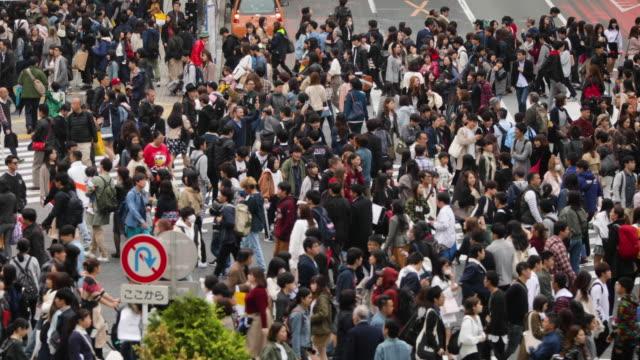 stockvideo's en b-roll-footage met shibuya crossing in tokio japan - chaos