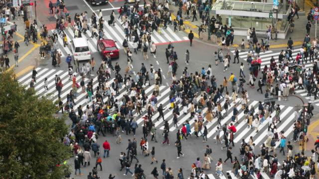 shibuya crossing in tokyo japan - inerpicarsi video stock e b–roll