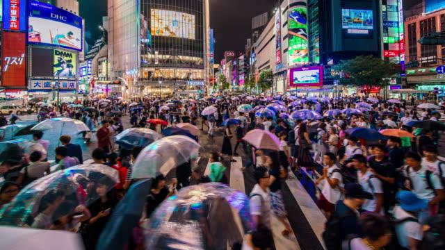 stockvideo's en b-roll-footage met shibuya overstekende in tokyo time-lapse - tokio kanto