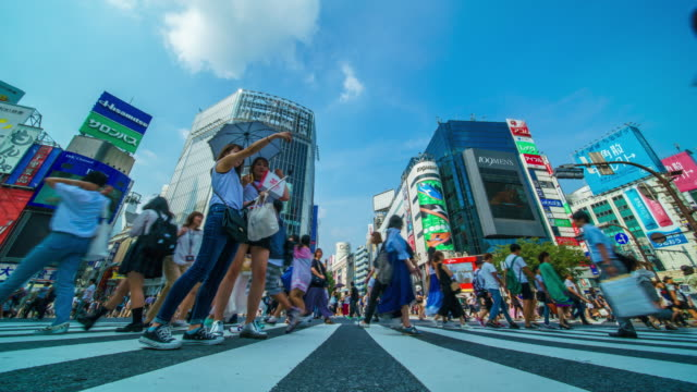東京時間の経過で渋谷交差点 - 交差点点の映像素材/bロール