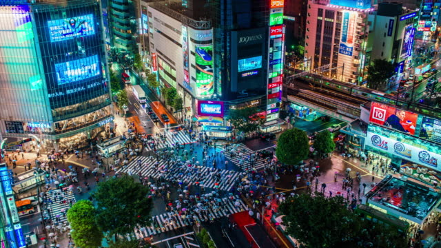 shibuya crossing in tokyo time lapse - vivid 4k video stock videos & royalty-free footage