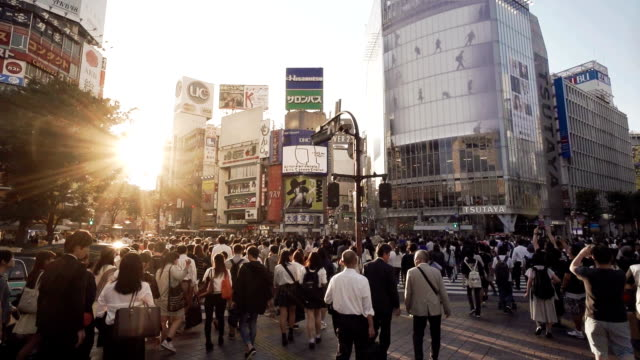 shibuya crossing intersection crowd slow motion tokyo japan. - dusk stock videos & royalty-free footage