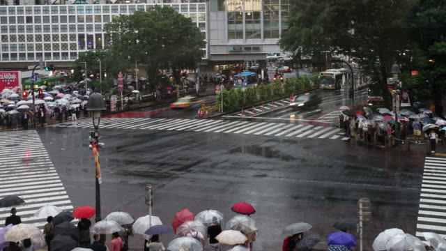 shibuya crossing time lapse in rainy day - regenzeit stock-videos und b-roll-filmmaterial