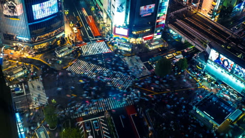 Shibuya Crossing Time Lapse A time lapse of the famous and very busy Shibuya crossing in Tokyo, Japan. Shot in 4K resolution on a rainy spring night. high angle view stock videos & royalty-free footage