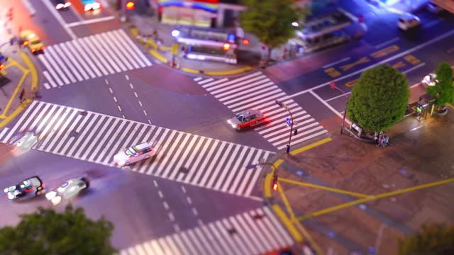 shibuya crossing, tokyo/ tilt-shift time lapse - 澀谷交叉點 個影片檔及 b 捲影像