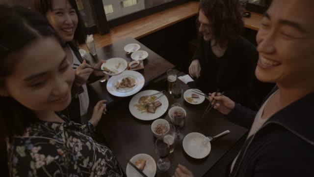 Shibuya Friends Meal Restaurant Slow motion Tokyo Japan. video