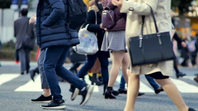 shibuya scramble crossing - dorso umano video stock e b–roll