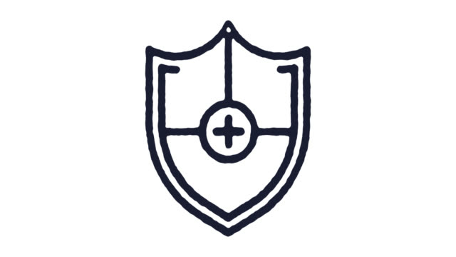 Shield Icon Animation Footage & Alpha Channel Shield outline icon animation footage/video. Hand drawn like symbol animated with motion graphic, can be used as loop item, has alpha channel and it's at 4K video resolution. shield stock videos & royalty-free footage