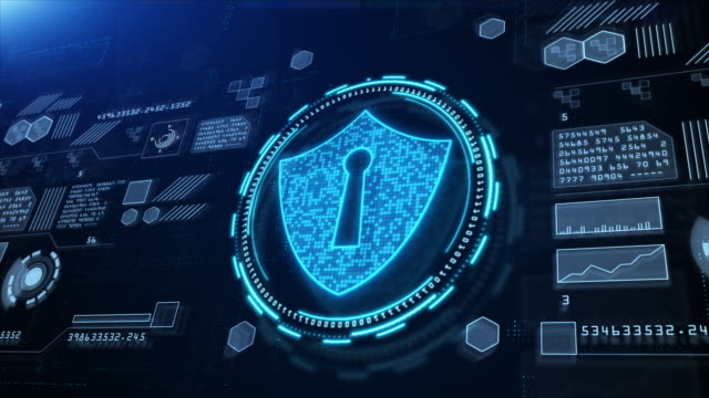 shield icon cyber security, hi-tech digital display holographic information, digital cyberspace, technology digital data connection abstract background. - безопасность сети стоковые видео и кадры b-roll