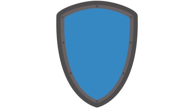 vídeos de stock e filmes b-roll de shield icon logo, safety and security concept in and out animation blue - escudo