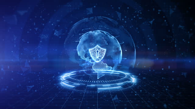Shield Icon of Cyber Security Digital Data, Digital Data Network Protection, Global Network 5g High-Speed Internet Connection and Big Data Analysis Future Background Concept.