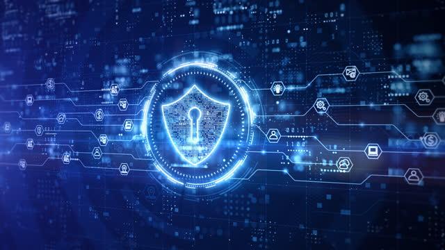 サイバーセキュリティデジタルデータのシールドアイコン、テクノロジーグローバルネットワークデジタルデータ保護、将来の背景概念 - 安全点の映像素材/bロール