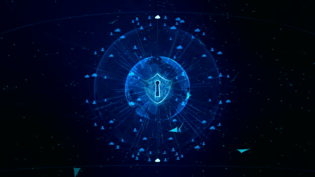 shield icon on secure global network , cyber security and protection of personal data concept - crittografia video stock e b–roll