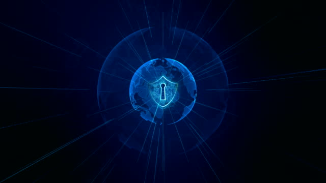 Shield Icon on Secure Global Network , Cyber Security and Protection of personal data concept Shield Icon on Secure Global Network , Cyber Security and Protection of personal data concept. Earth element furnished by Nasa padlock stock videos & royalty-free footage