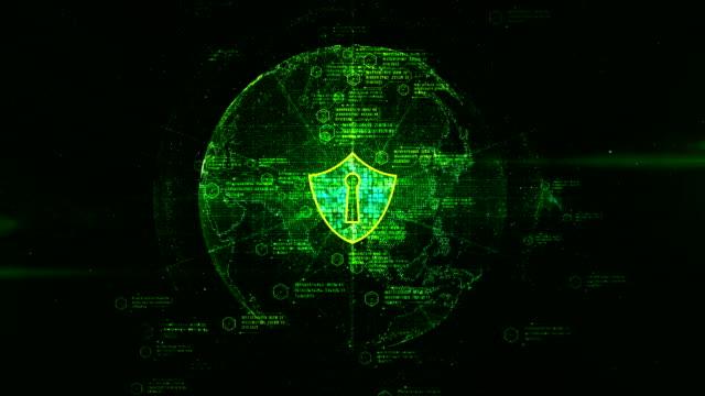 vídeos y material grabado en eventos de stock de icono de escudo de red global segura, concepto de la seguridad de cyber. - shield
