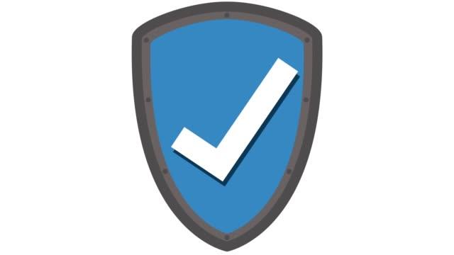 vídeos y material grabado en eventos de stock de concepto de la protección del icono con tic y animación azul del protector - shield