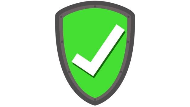 vídeos de stock e filmes b-roll de shield icon protection concept with tick in and out animation green - escudo