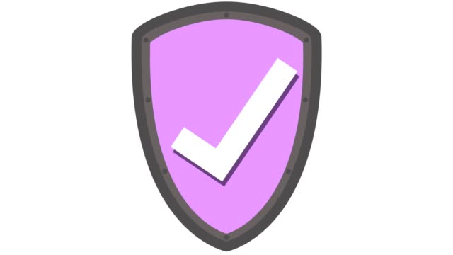 vídeos de stock e filmes b-roll de shield icon protection concept with tick in and out animation pink - escudo