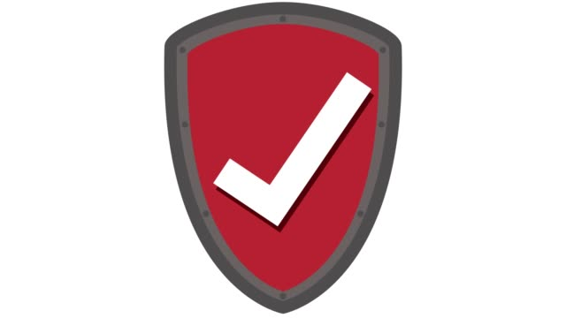 vídeos de stock e filmes b-roll de shield icon protection concept with tick in and out animation red - escudo