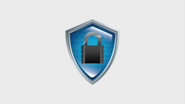 vídeos de stock e filmes b-roll de shield protection security binary checkmark - escudo