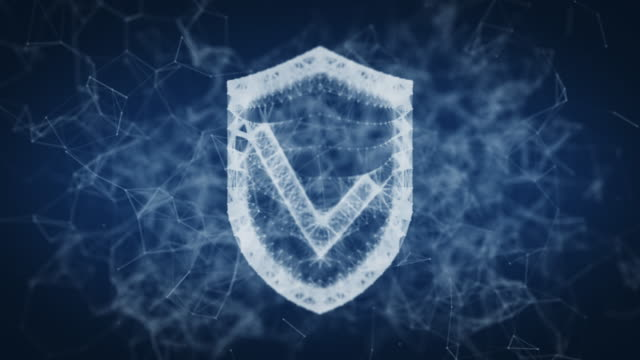 shield with a checkmark of points and lines shield with a checkmark consisting of points and lines on a blue background. 3D render shield stock videos & royalty-free footage