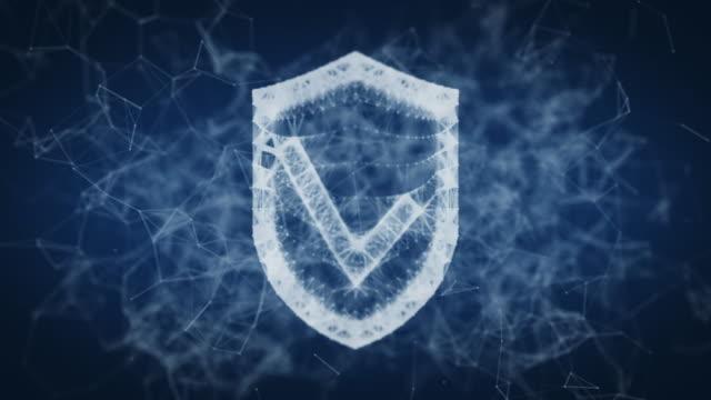 vídeos y material grabado en eventos de stock de escudo con una marca de verificación de puntos y líneas - shield
