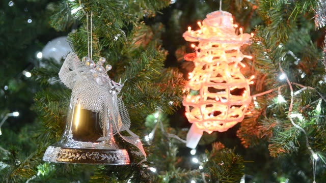 Shining decoration on christmas tree video