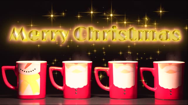 Shining inscription Merry Christmas on a background of stars and four santa claus in the form of cups.