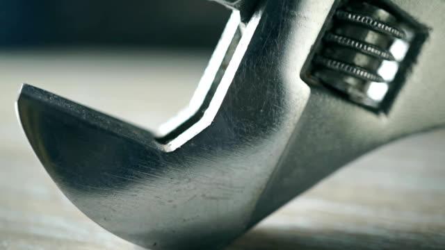 Shiny adjustable wrench macro video video