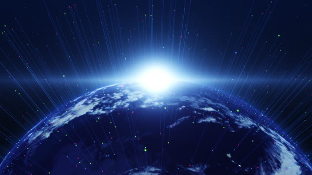 Shiny blue world slowly appearing. Technology related concept. video