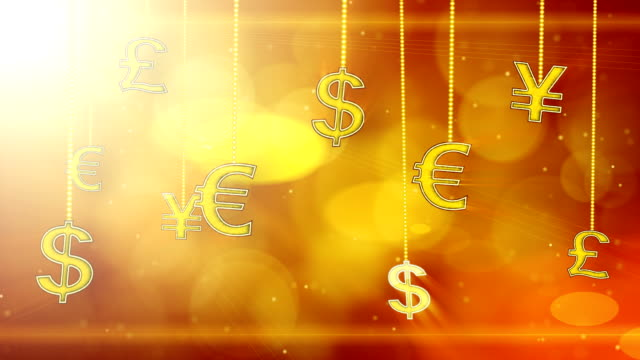 shiny currency signs dangling on strings loop background