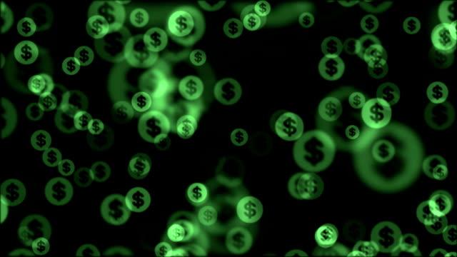 glänzende dollarzeichen zufälliger schwimmer animation hintergrund - dollarsymbol stock-videos und b-roll-filmmaterial