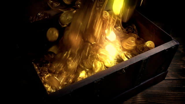 Shiny Gold Coins Pour Into Chest Fantasy Setting video