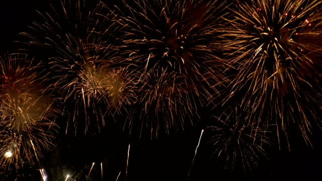 shiny gold firework display for 4th of july,  festival, anniversary , celebration , party, new year concept background - 4 luglio video stock e b–roll