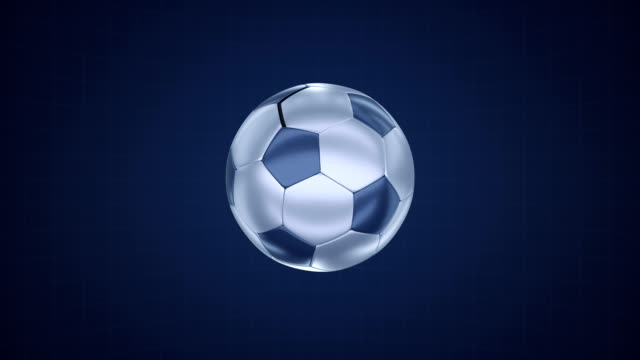 Shiny metallic ball flying in blue space. video