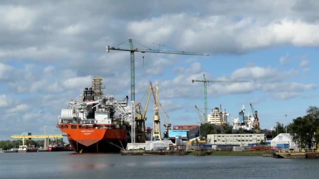 Ship And Cranes In Shipyard Harbour In Gdansk, Poland video