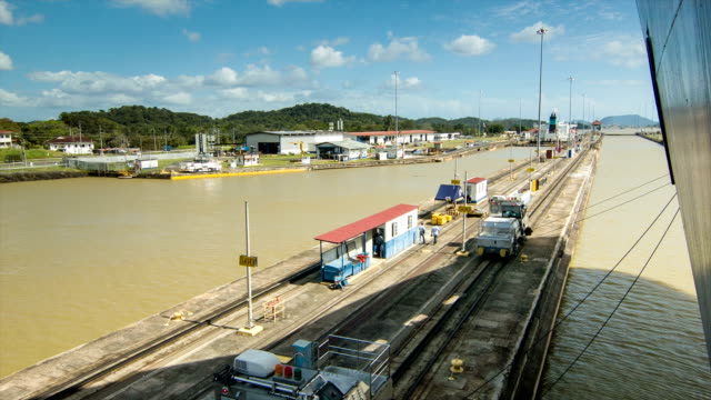 Ship Being Guided Into Locks at the Panama Canal video