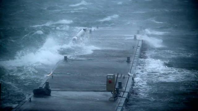 ship dock rocking violently in hurricane force rain and wind, Reykjavik, Iceland close up
