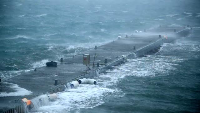 ship dock rocking violently in hurricane force storm rain and wind, Reykjavik, Iceland