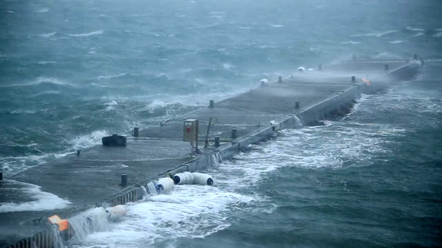 ship dock rocking violently in hurricane force storm rain and wind, Reykjavik, Iceland video