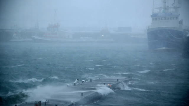 ship docked in hurricane force storm, rain and wind, snow, Reykjavik, Iceland video