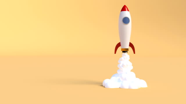 Ship rocket launch. Startup new business project. New business project concept. Vehicle concept. Space shuttle. Smoke cloud. 4k