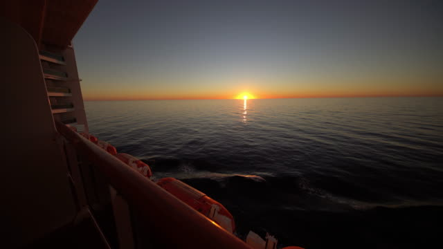 WS Ship sailing at sunset video