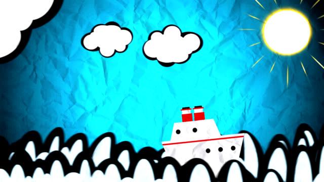 Ship sailing on animated drawing video