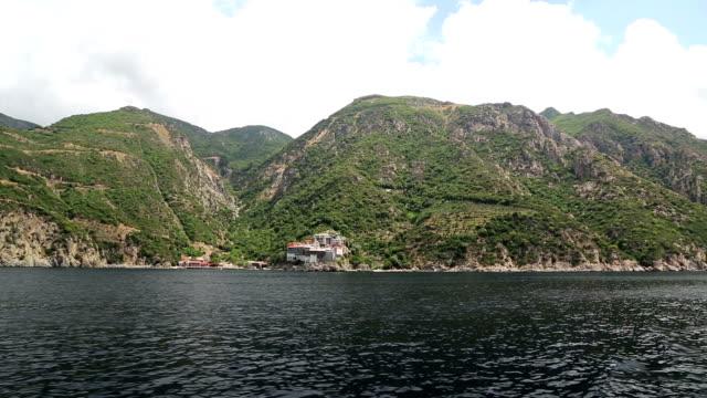 Ship sails along peninsula of Athos video